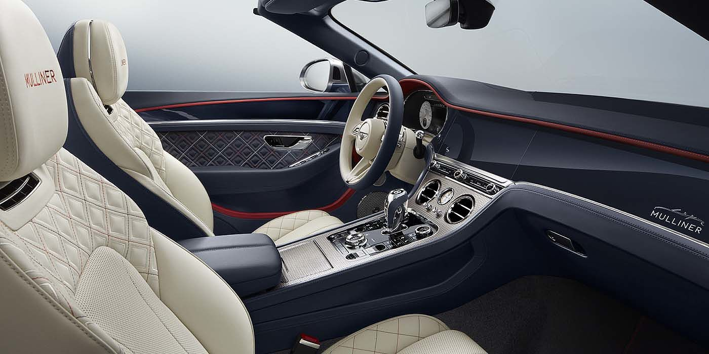 Bentley-Continental-GT-Mulliner-Convertible-front-interior-in-Imperial-Blue-Linen-and-Hotspur-leather
